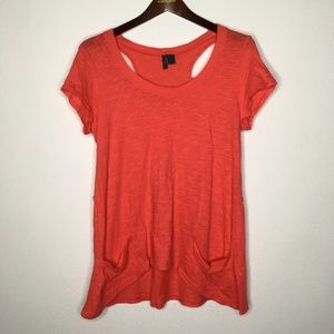 Left of Center Coral Cut Out Slub Tee Size M
